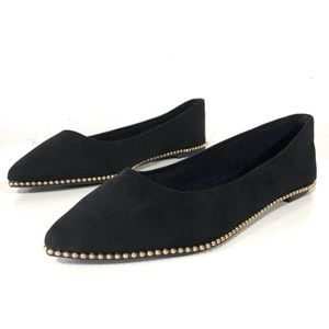 Bamboo Black Gold Flats Ballet Flats Pointed Toe
